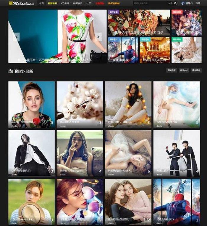 Discuz大气摄影 CG 模特 图片素材类网站模