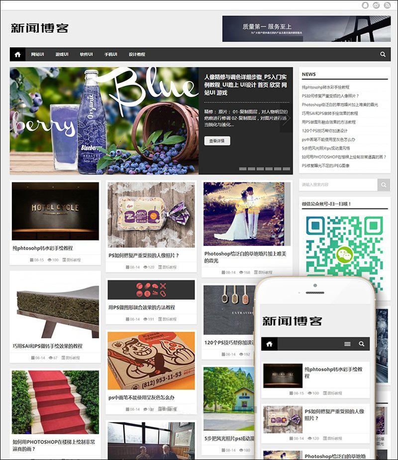 dedecms网站模板 大气新闻资讯技术博客网站源码织梦模板
