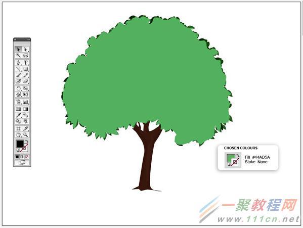 illustrator鼠绘卡通绿叶子大树效果教程