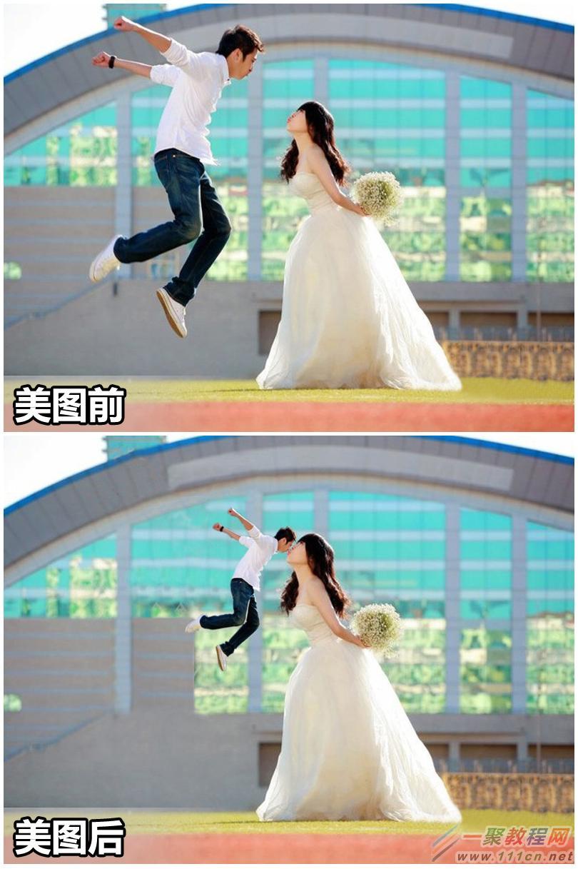 """婚纱照还能这样玩!美图秀秀教你打造有趣""""大小人""""效果图片"""